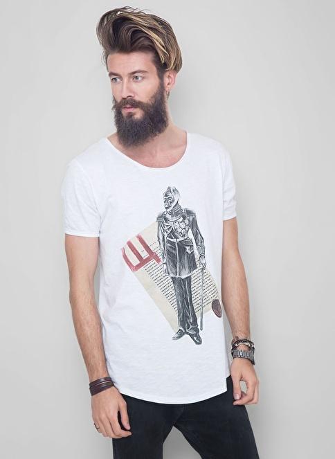 Deardeer Bisiklet Yaka Baskılı Tişört Beyaz